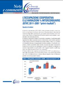 """N.3 L'OCCUPAZIONE COOPERATIVA E LE VARIAZIONI % INTERCENSUARIE (ISTAT, 2011-2001 """"PRIMI RISULTATI"""") – SETTEMBRE 2013"""