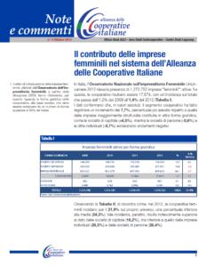N.4 IL CONTRIBUTO DELLE IMPRESE FEMMINILI NEL SISTEMA DELL'ALLEANZA COOPERATIVE ITALIANE – OTTOBRE 2013