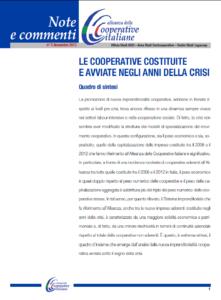 N.5 LE COOPERATIVE COSTITUITE E AVVIATE NEGLI ANNI DELLA CRISI – NOVEMBRE 2013