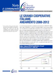 N.8 LE GRANDI COOPERATIVE ITALIANE. ANDAMENTO 2008-2012 – GENNAIO 2014