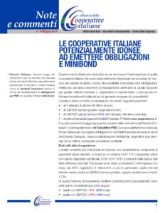 N.14 LE COOPERATIVE ITALIANE POTENZIALMENTE IDONEE AD EMETTERE OBBLIGAZIONI E MINIBOND – MAGGIO 2014