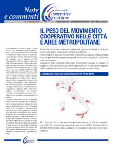 N.15 IL PESO DEL MOVIMENTO COOPERATIVO NELLE CITTÀ E AREE METROPOLITANE – MAGGIO 2014