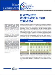 N. 36 – IL MOVIMENTO COOPERATIVO IN ITALIA 2008-2014