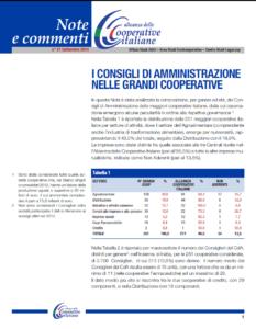 N.21 I CONSIGLI DI AMMINISTRAZIONE NELLE GRANDI COOPERATIVE – SETTEMBRE 2014