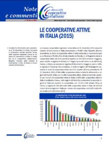 N. 41 – LE COOPERATIVE ATTIVE IN ITALIA (2015)