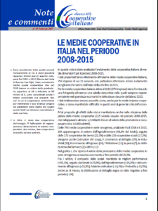 N. 47 – LE MEDIE COOPERATIVE IN ITALIA NEL PERIODO 2008-2015