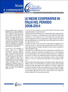 N. 40 – LE MEDIE COOPERATIVE IN ITALIA NEL PERIODO 2008-2014