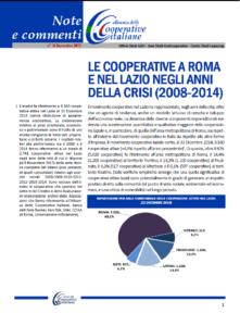 N. 34 – LE COOPERATIVE A ROMA E NEL LAZIO NEGLI ANNI DELLA CRISI (2008-2014)